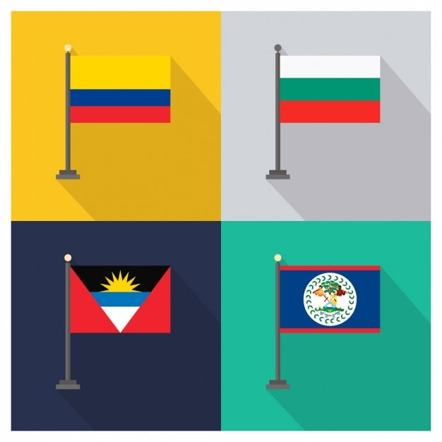 Kolumbien Bulgarien Antigua und Barbuda Belize Flags Kostenlose Vektoren