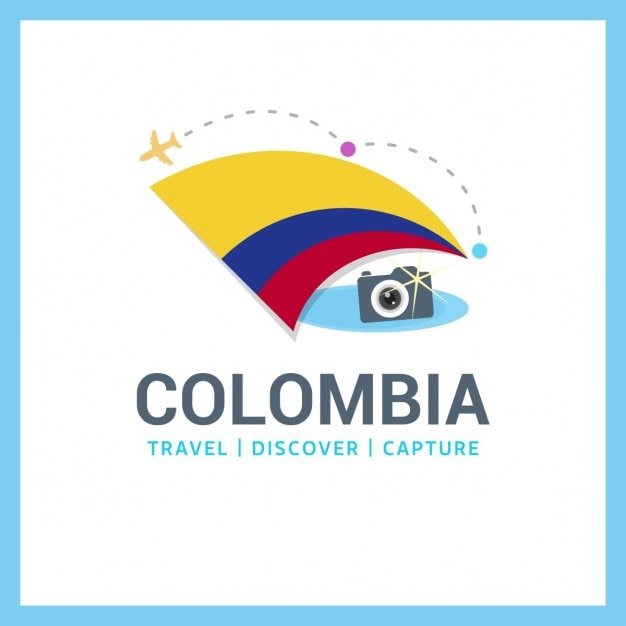 Kolumbien-flaggen-reise-logo Kostenlosen Vektoren