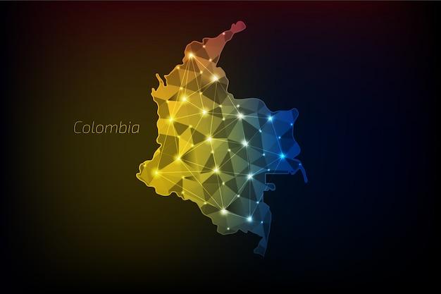 Kolumbien karte polygonal mit leuchtenden lichtern und linie Premium Vektoren