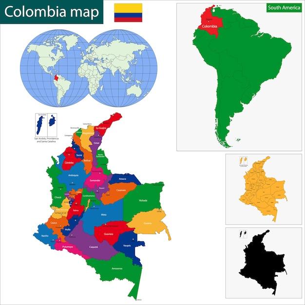 Kolumbien karte Premium Vektoren
