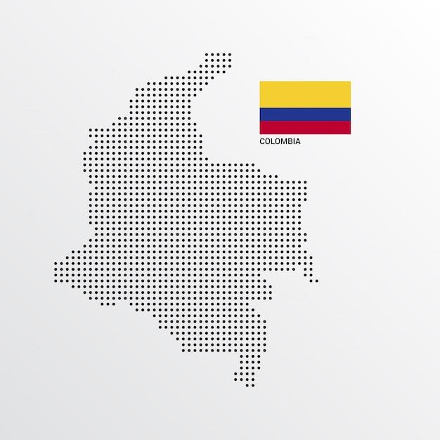 Kolumbien-kartenentwurf mit flaggen- und hellem hintergrundvektor Kostenlosen Vektoren