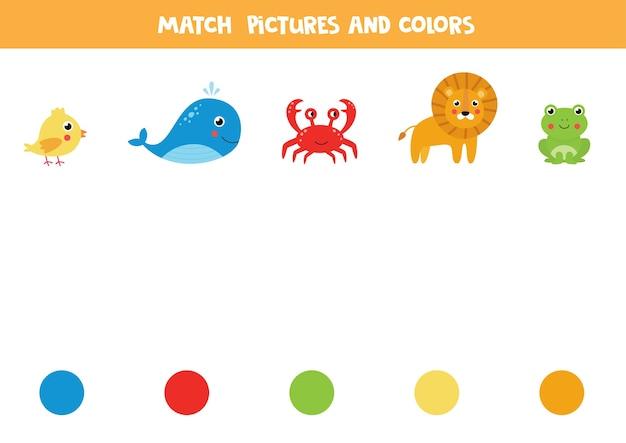 Kombiniere bilder von tieren mit bunten kreisen. pädagogisches logisches spiel für kinder. Premium Vektoren