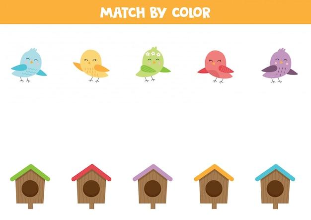 Kombiniere vögel und vogelhäuschen nach farbe. Premium Vektoren