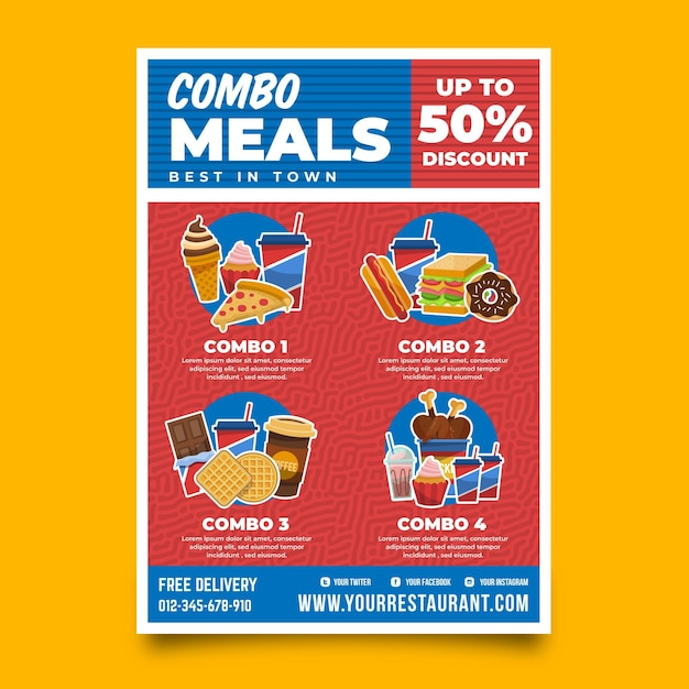 Kombinierte mahlzeiten - plakatvorlage Premium Vektoren