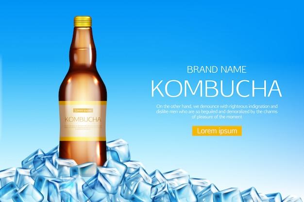Kombucha-flasche auf eiswürfelhaufenfahne Kostenlosen Vektoren