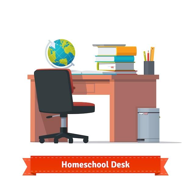 Komfortable homeschool arbeitsplatz mit dem schreibtisch Kostenlosen Vektoren