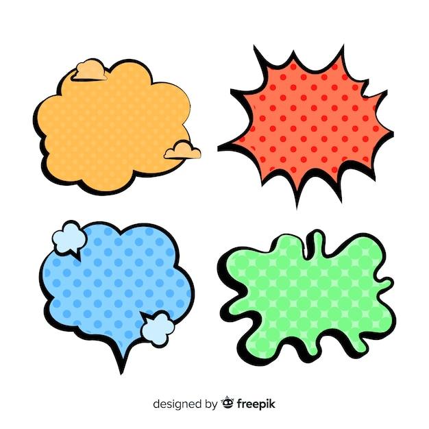 Komische farbige rede und dialogblasen Kostenlosen Vektoren