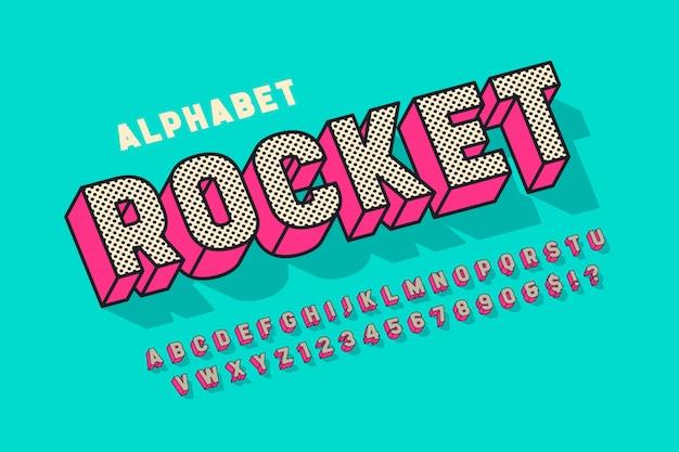 Komische schriftart, alphabet, buchstaben und zahlen der anzeige 3d. Premium Vektoren