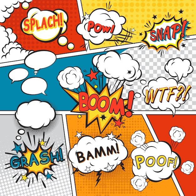 Komische spracheblasen in der pop-arten-art mit gesetzter vektorillustration des splach-powl-schnellboom-poof-textes Kostenlosen Vektoren