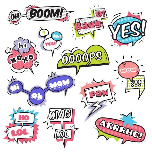 Komische spracheblasen stellten mit lokalisierte vektorillustration der gefühlssymbolebene ein Kostenlosen Vektoren