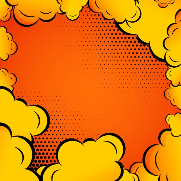 Komische wolken auf orange hintergrund Kostenlosen Vektoren