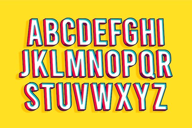 Komisches alphabet 3d Kostenlosen Vektoren