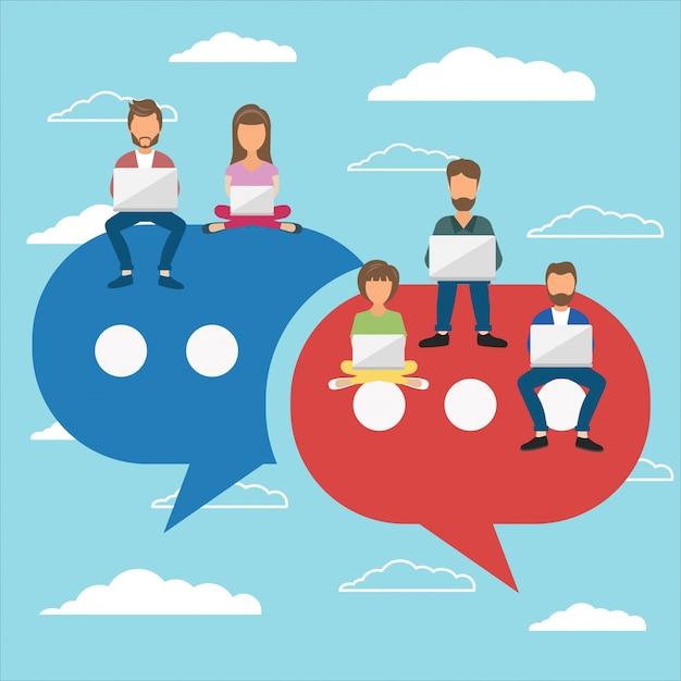 Kommentare in sozialen Netzwerken hinterlassen Kostenlose Vektoren