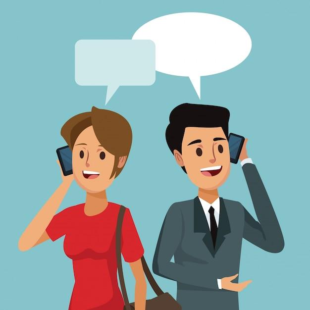 Kommunikation des sozialen netzes des menschen mit dialogfeld Premium Vektoren