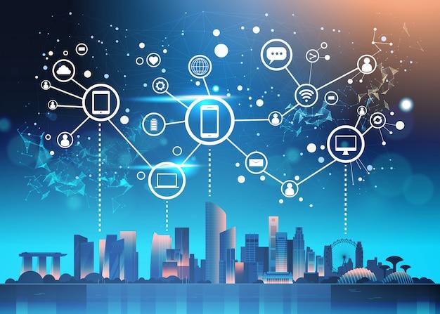 Kommunikation des sozialen netzes über nacht-singapur-illustration mit berühmten marksteinen und wolkenkratzern Premium Vektoren