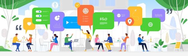 Kommunikation in den globalen computernetzen Premium Vektoren
