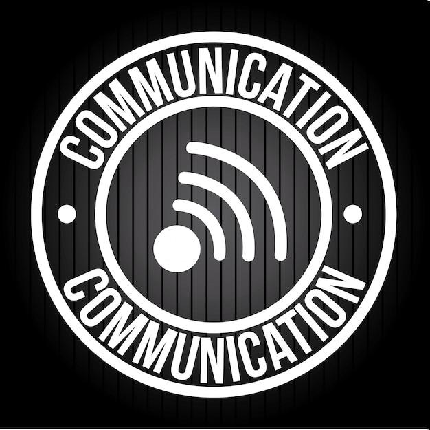 Kommunikation über schwarze illustration Kostenlosen Vektoren