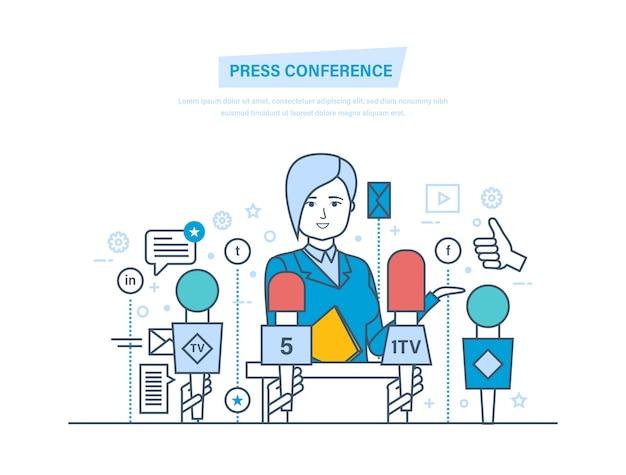Kommunikation und live-berichtsdialog, interviews, fragen, medien, nachrichten Premium Vektoren