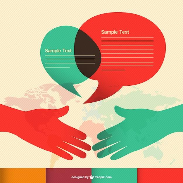 Kommunikations Hand schütteln Infografik Kostenlose Vektoren