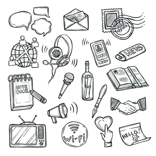 Kommunikations-icon-set Kostenlosen Vektoren