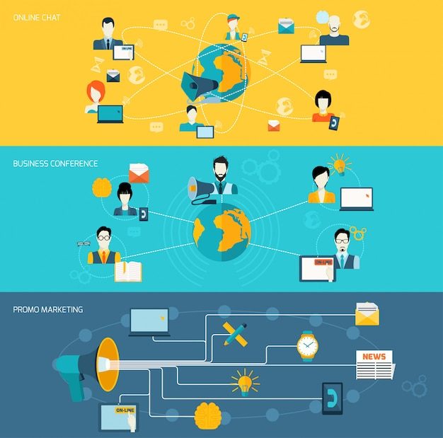 Kommunikationsbannersatz Kostenlosen Vektoren