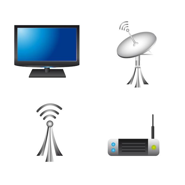 Kommunikationselemente über weißem hintergrund Premium Vektoren