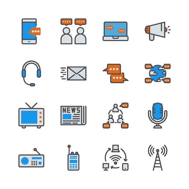 Kommunikationsgerät im colorline-ikonensatz Premium Vektoren