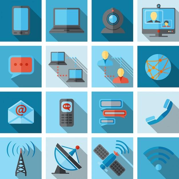 Kommunikationsikonen-schwarzsatz Kostenlosen Vektoren