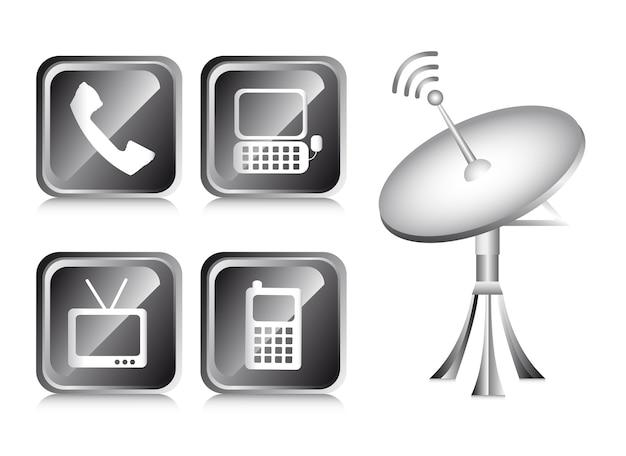 Kommunikationsikonen über weißer hintergrundvektorillustration Premium Vektoren