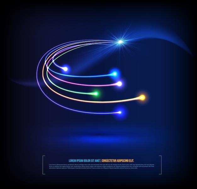 Kommunikationskonzept der optischen fasern Premium Vektoren