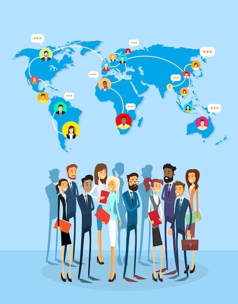 Kommunikationskonzept des geschäfts-leute-gruppen-sozialen netzes Premium Vektoren