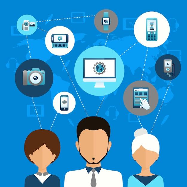 Kommunikationskonzept für mobile geräte Kostenlosen Vektoren