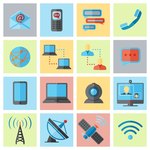 Kommunikationssymbol flache festgelegt Premium Vektoren