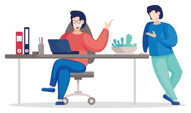 Kommunizierende kollegen im büro, die mit dem laptop am tisch sitzen und stehen. geschäftsleute diskutieren ein neues projekt Premium Vektoren