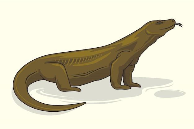 Komodo dragon cartoon tiere eidechse Premium Vektoren