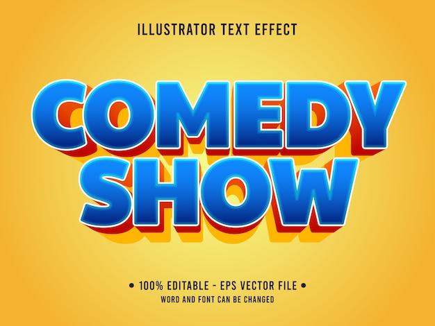 Komödie zeigen bearbeitbaren texteffekt modernen stil mit farbverlauf blaue farbe Premium Vektoren