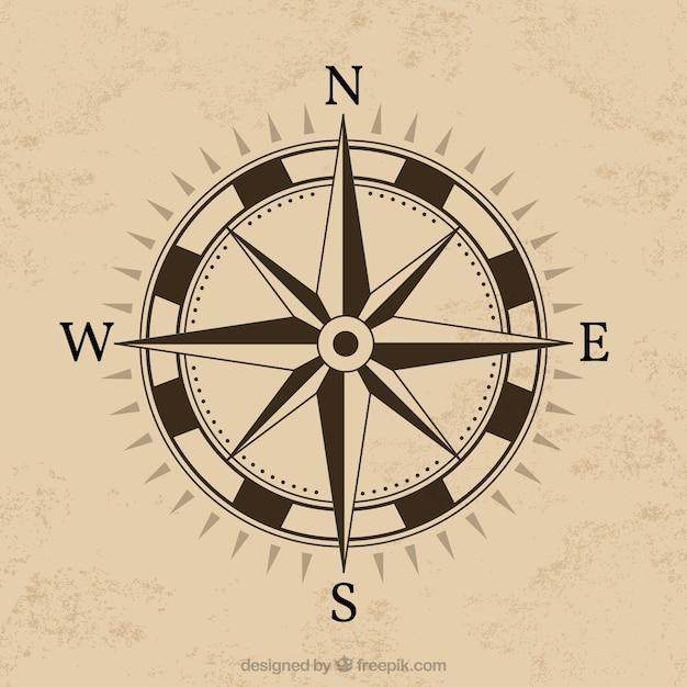 Kompass-design mit braunem hintergrund Kostenlosen Vektoren