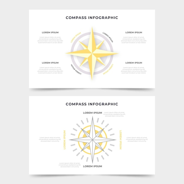 Kompass-infografiken mit flachem design Kostenlosen Vektoren