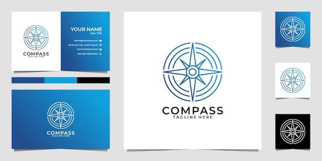 Kompass line art kreis logo und visitenkarte Premium Vektoren