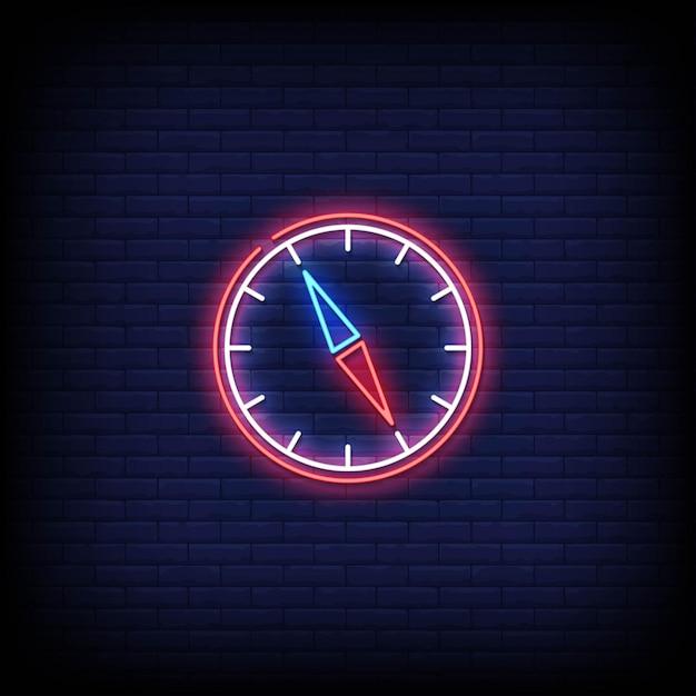 Kompass neonzeichen stil text Premium Vektoren