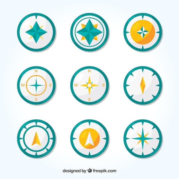 Kompass-sammlung von neun Premium Vektoren