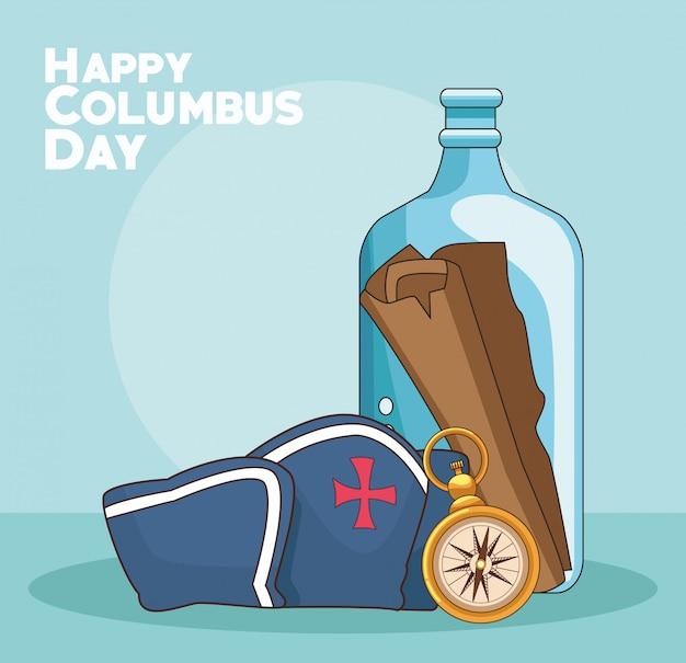 Kompass und happy columbus tag Premium Vektoren