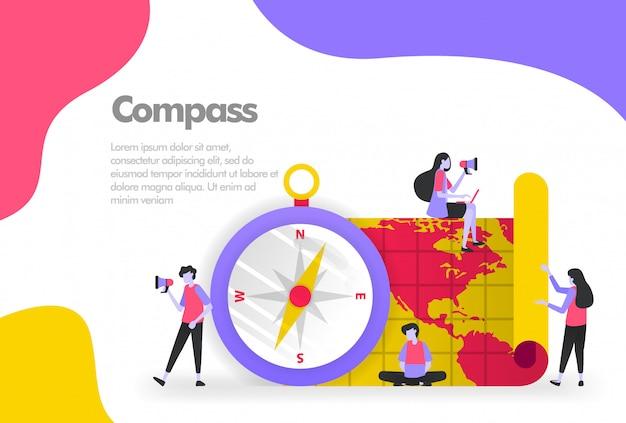 Kompass und kartenbanner Premium Vektoren