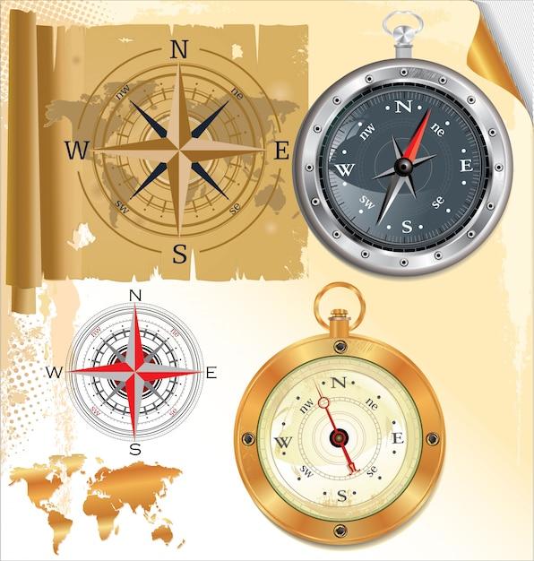 Kompassrose und glänzender kompass, satz Premium Vektoren