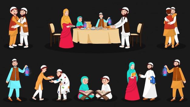 Komplettes set fröhlicher muslimischer charaktere bei der festivalveranstaltung Premium Vektoren