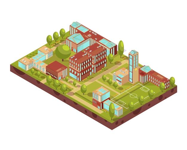 Komplex des isometrischen plans der modernen universitätsgebäude mit gehwegen und bänke der fußballplatzgrün-baumvektorillustration Kostenlosen Vektoren