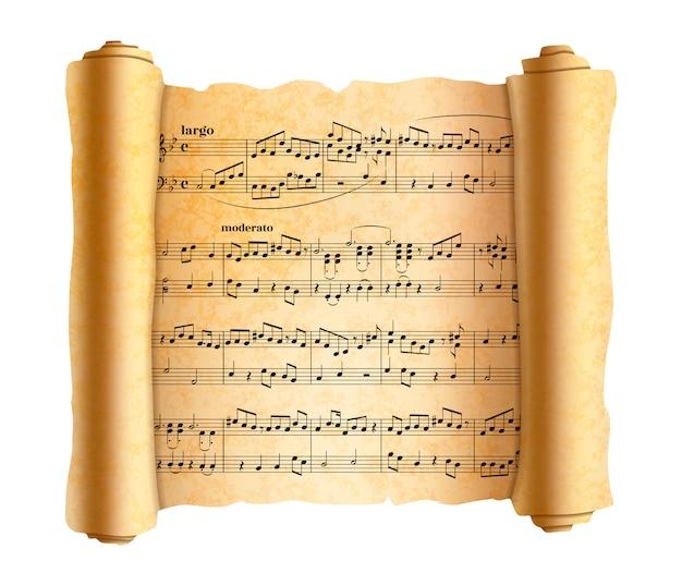 Komplizierte abstrakte melodienoten auf alter strukturierter schriftrolle auf weiß Premium Vektoren