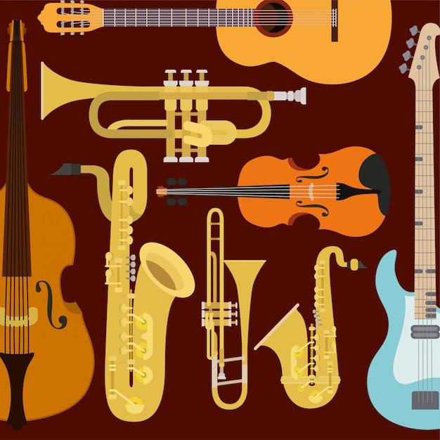 Komposition klassischer instrumente Premium Vektoren