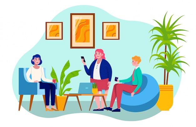 Kompositionsleute kommunizieren im büro, gruppenkollegen, gespräch bei der arbeit, illustration, auf weiß. computerausrüstung, kaffeepause, frauen, männer verschiedener nationalitäten. Premium Vektoren