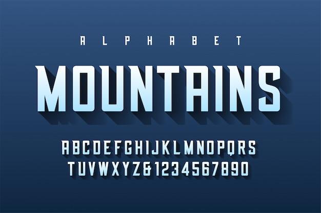 Kondensierte retro-schrift mit alphabet, zeichensatz, le Premium Vektoren